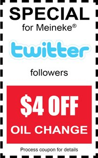 Meineke Coupon for Twitter Followers | Cheap Oil Change ...
