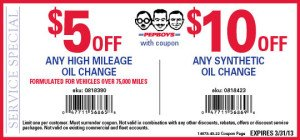 Pep Boys Synthetic Oil Change Coupon