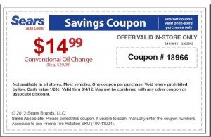 Twitter Sears oil change coupon