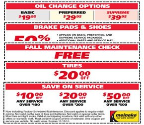Meineke oil change coupons
