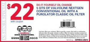 Boys Coupons on Pep Boys Oil Change Coupon   Valvoline Diy February 2012