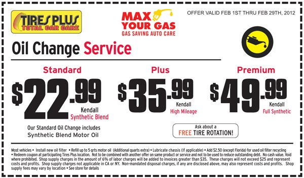 Tire discounters coupons oil change