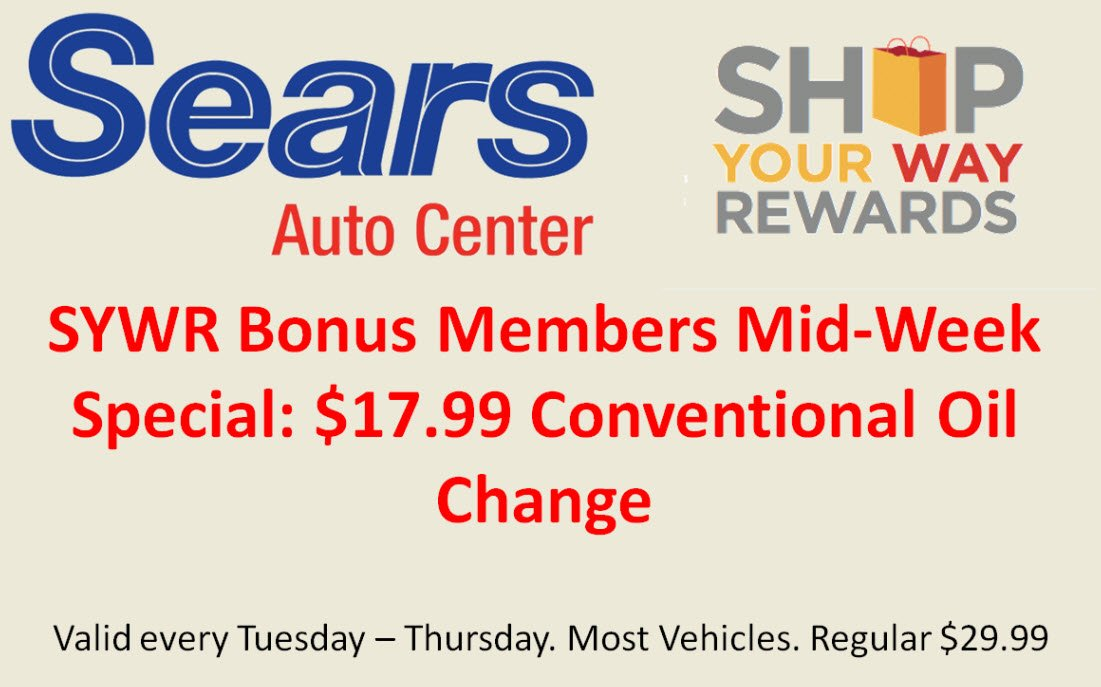 Sears synthetic oil change coupon 2018 cyber monday for Honda oil change printable coupon