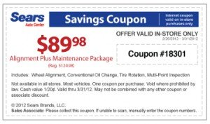 Sears Oil Change and Wheel Alignment Coupon
