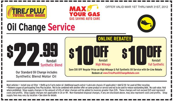 Tire discounters oil change coupon