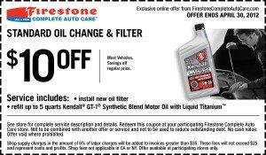 Firestone Oil Change Coupon - 2012, April