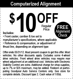 Goodyear Auto Service Center Coupon & Promo Codes. Coupon Codes / Automotive / Goodyear Auto Service Center Coupons. Add to Your Favorites. from 13 users. We have a Goodyear Auto Service Center sale for you. Discount Tire Coupons. Spohn Performance Coupon Code. Car Spa Coupons. Subaru Coupons. MR Wash Coupon%(13).
