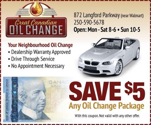 Discount oil change coupon