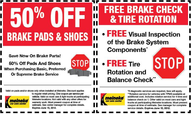 Meineke Brake Coupons - May 2012