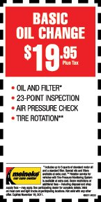 Changing your vehicle's oil is important because over time, oil breaks down. At Meineke, we use lubricating oil to reduce the amount of friction between the moving parts of the engine to help cool the parts of the engine that generate heat. We Offer Money Saving Oil Change Packages. $ Basic Oil Change; $ Preferred Oil Change*.