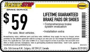 Midas Brake Coupon - Calgary, Alberta