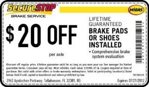 Midas Brake Coupon - Tallahassee