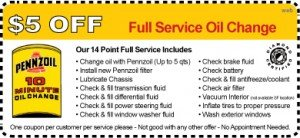 Penn 10 Oil Change Coupon