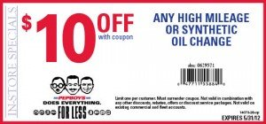 Pep Boys Synthetic or High Mileage Oil Change Coupon