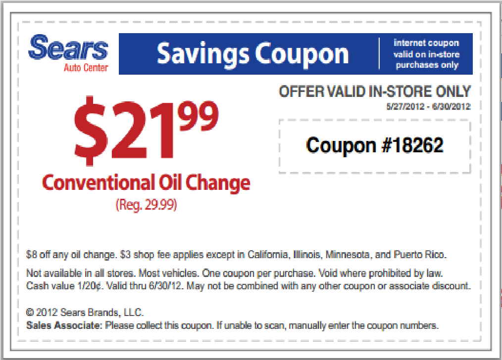 Oil change discount coupon