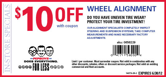 Alignment coupons pep boys - Cheap kids vans