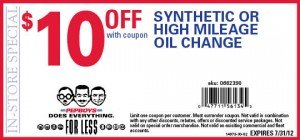July 2012 Coupon - Pep Boys Synthetic Oil Change
