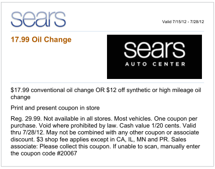 *****Oil change prices above include filling up to 5 quarts of oil. Your Sears oil change price might be slightly higher if your vehicle requires more then 5 quarts of oil. Sears Engine Oil Change Coupons | SAVE MONEY. Sears offers basic, medium, and premium oil changes that are designed to keep vehicles of all types or ages running smoothly.