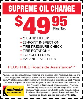 Meineke Coupons for Oil Changes - August-September 2012 ...