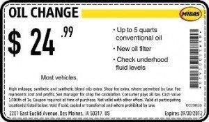 Midas Oil Change Coupon - Des Moines Iowa