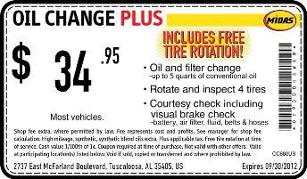 Midas Oil Change Coupon Tuscaloosa Cheap Oil Change Coupons