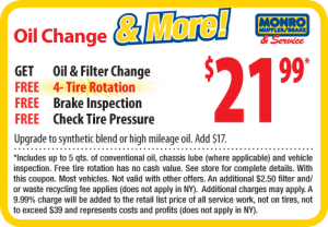 Monro Oil Change Coupon - August 2012