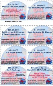 Oil Express Coupons - 2012