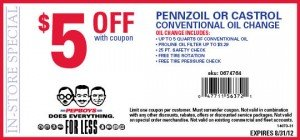 Castrol or Pennzoil Oil Change Coupon - Pep Boys - August 2012