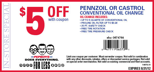 Pep boys discount coupons