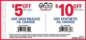 Pep Boys High Mileage or Synthetic Oil Change Coupons - August 2012