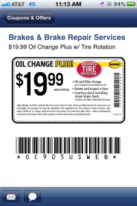 Midas Oil Change Coupon from an APP