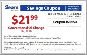 Sears Oil Change Coupon - August 2012
