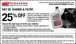 Firestone Oil Change Coupon - September 2012