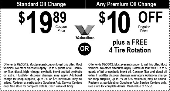 Goodyear Coupons for oil change can be redeemed at a Goodyear Tire & Service Network local store. Coupons are used to receive discount prices on oil changes and other services by bringing them in or accessing them on your smart phone.