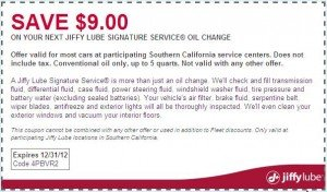 Jiffy Lube Southern California Coupon