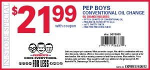 September 2012 Pep Boys Conventional Oil Change Coupon - $21.99