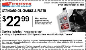 Firestone oil change coupon October 2012