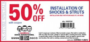 50% off Shocks and Struts installation