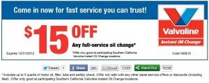 EZ Lube oil change coupon - november