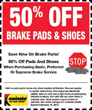 Meineke Brakes Coupon January 2013