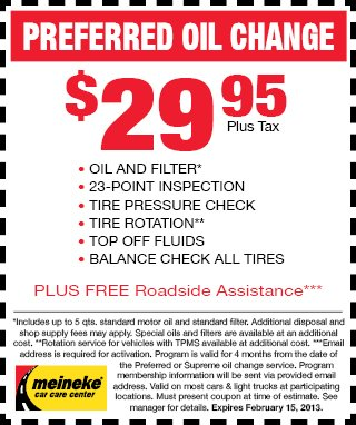 Meineke 2013 Preferred Oil Change Coupon