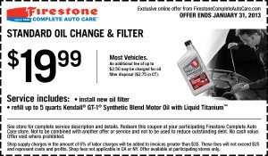 Firestone Oil Change Coupon - January 2013