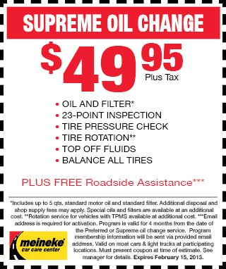 Meineke Supreme Oil Change January 2013
