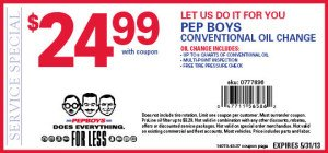 Find oil change coupons, brake coupons, car battery coupons and more at Pep Boys. We can help you save money on auto repairs and oil changes.