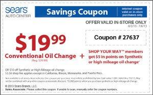 June-July Sears oil change special