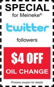Oil Change Coupon for Meineke Twitter Followers