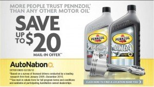 Pennzoil Oil Change Mail in Rebate