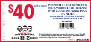 July 2012 Coupon - Pep Boys Pennzoil Synthetic DIY Oil Change