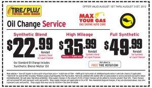 August Tires Plus Oil Change Coupon