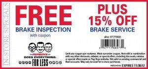 Pep Boys Brake Service coupon